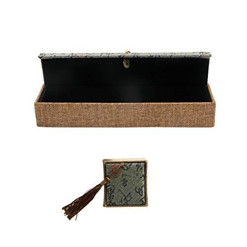 TOPBATHY 2 Stücke 2 Größen Chinesischen Stil Schmuck Geschenkbox Fall Sackleinen Schmuck Träger Box Halter mit Quaste für Ring Lange...