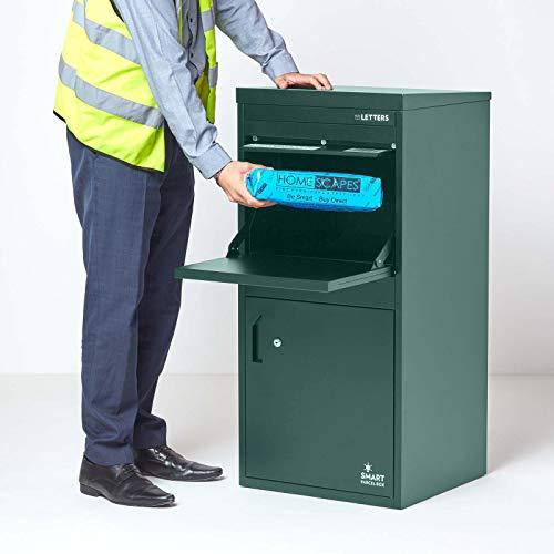 Extra große Smart Parcel Box, Paketbriefkasten für alle Zustelldienste mit Paketfach und Briefkasten, sichere Paketbox mit Rückholsperre,...