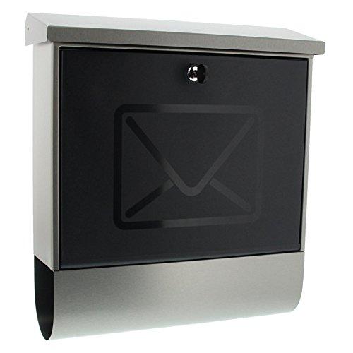BURG-WÄCHTER Briefkasten mit Zeitungsfach ohne Namensschild, Rostfreier Edelstahl, Transluzente Tür, Einwurf-Format DIN C4, Inkl. 2...