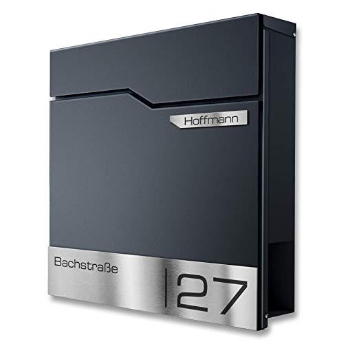 Metzler Design Briefkasten mit V2A Edelstahl-Namensschild - Wandbriefkasten in Anthrazit RAL 7016 - Postkasten inkl. Zeitungsfach - Größe:...
